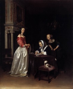 Curiosity, by Gerard ter Borch II,  ca. 1660.  Oil on canvas.